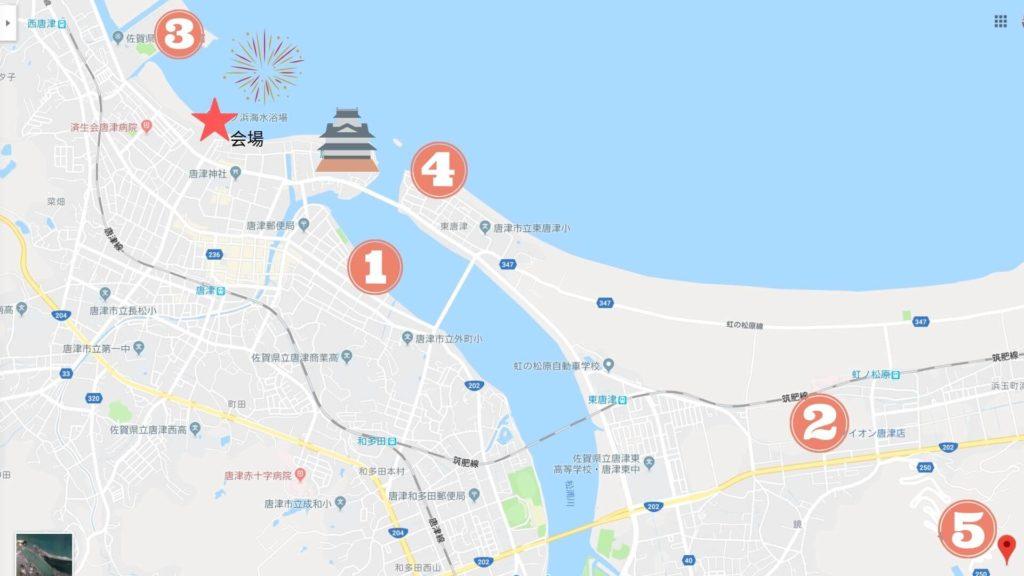 唐津 九州花火大会 マップ