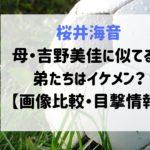 桜井海音 母 吉野美佳 似てる 弟 イケメン