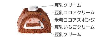 米粉と豆乳ココアクリームブッシュドノエル セブン 断面